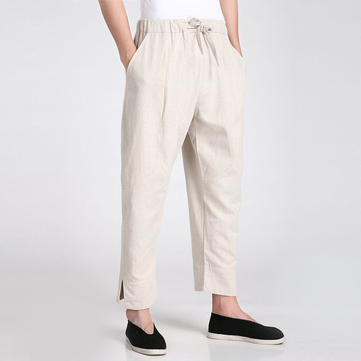 New Arrival Beige Chinese Men's Kung Fu Trousers Cotton Linen Pants Wu Shu Clothing Size S M L XL XXL XXXL 2608