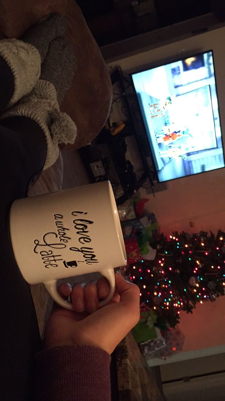 Christmas movie, lights, cozy cuddle, couch, leg warmers, coffee