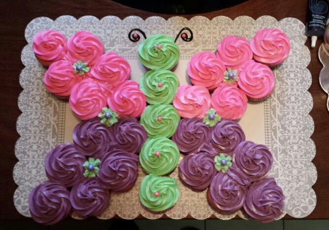 butterfly cupcake cake - Google Search