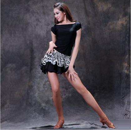 Костюм латинский танец сексуальные лед шелковые короткие рукава топ + зебры короткая юбка 2 шт. / костюм для женщин латинский танец упражнения комплект