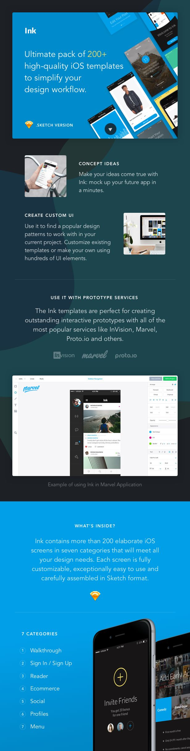 Features   200+ iOS screens in iPhone 6 resolution (750*1334 px) 7 most popular categories Hundreds of 100% customizable UI elements. Retina ready 100% Vector Layers Smart Layer Struc...