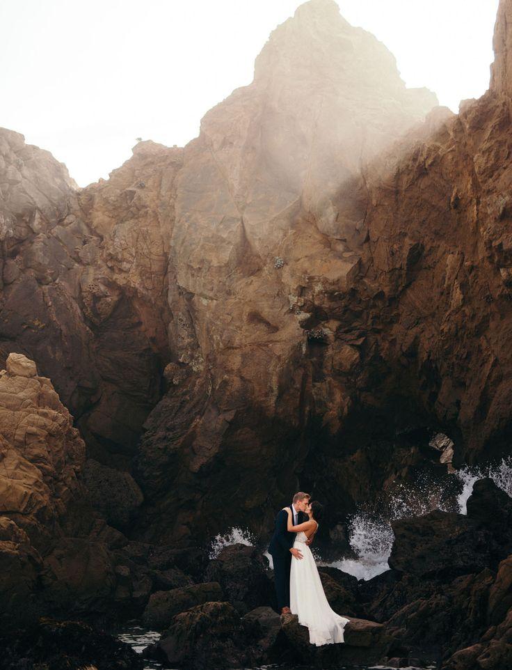 Intimate Big Sur Wedding // wedding portraits on the beach by Cassie Rosch