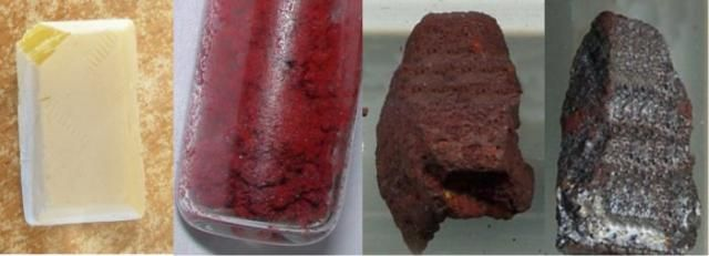 Get Facts About the Element Phosphorus: Pure phosphorus exists in several forms called allotropes. This photo shows waxy white phosphorus (yellow cut), red phosphorus, violet phosphorus and black phosphorus. The allotropes of phosphorus have markedly different properties from each other.