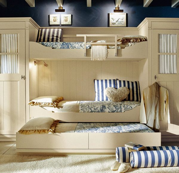 I don't think it would have to be attached to the wall as a built in wither. I love this. Might be large though. Traditional Style Children's Bedroom by Minacciolo.