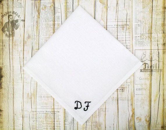 Hand sewn custom initials pocket square. White by KristineBridal #monogram #pocket #square #initial #handkerchief #personalized #hankie