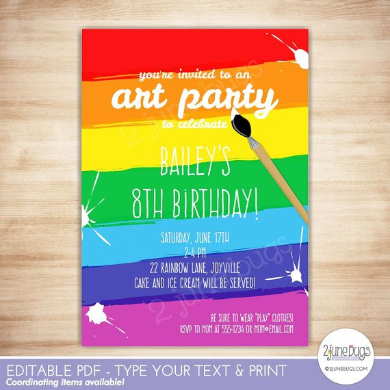 Art Party Invitation Template - Paint Party Printable Invitation