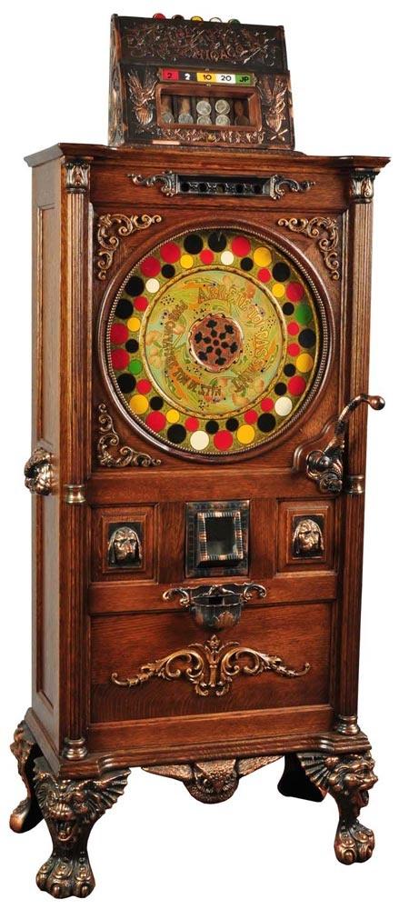 Chicago jackpot upright slot machine designed for the 1900 Paris World's Fair  http://www.primeslots.com/?AR=526087