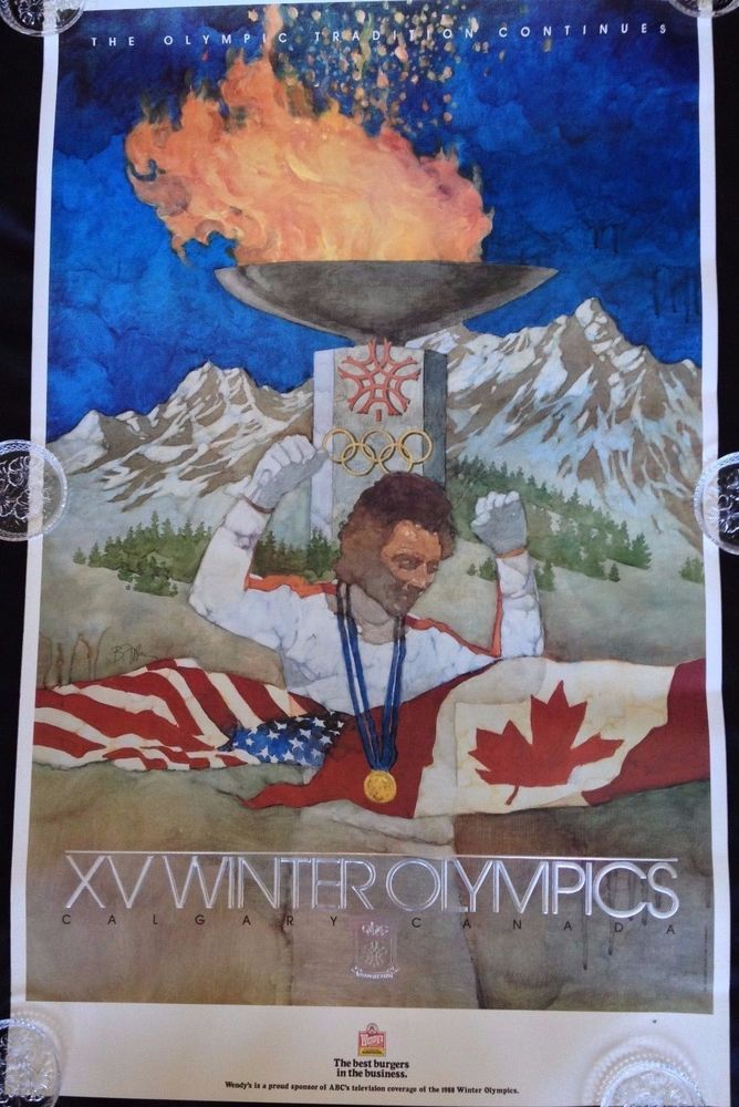 """Bart Forbes 1988 Winter Olympic Poster Calgary Torch Wendys ABC 38"""" in Sports Mem, Cards & Fan Shop, Fan Apparel & Souvenirs, Olympics 