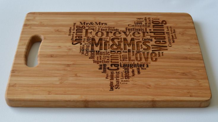 Engraved large solid wooden chopping board cutting board cheese board words art and heart - Engraved wooden chopping boards ...