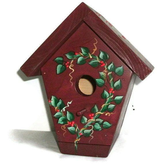 Handmade Bird House  Hand Painted Bird House by JuliesGiftbox, $32.00