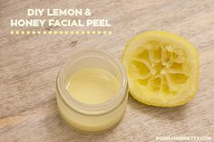 "Homemade lemon & honey facial peel. Lemon juice acts as a natural ""peel"" because it removes dead skin cells, leaving your skin smooth and refreshed! Click through for the full tutorial."