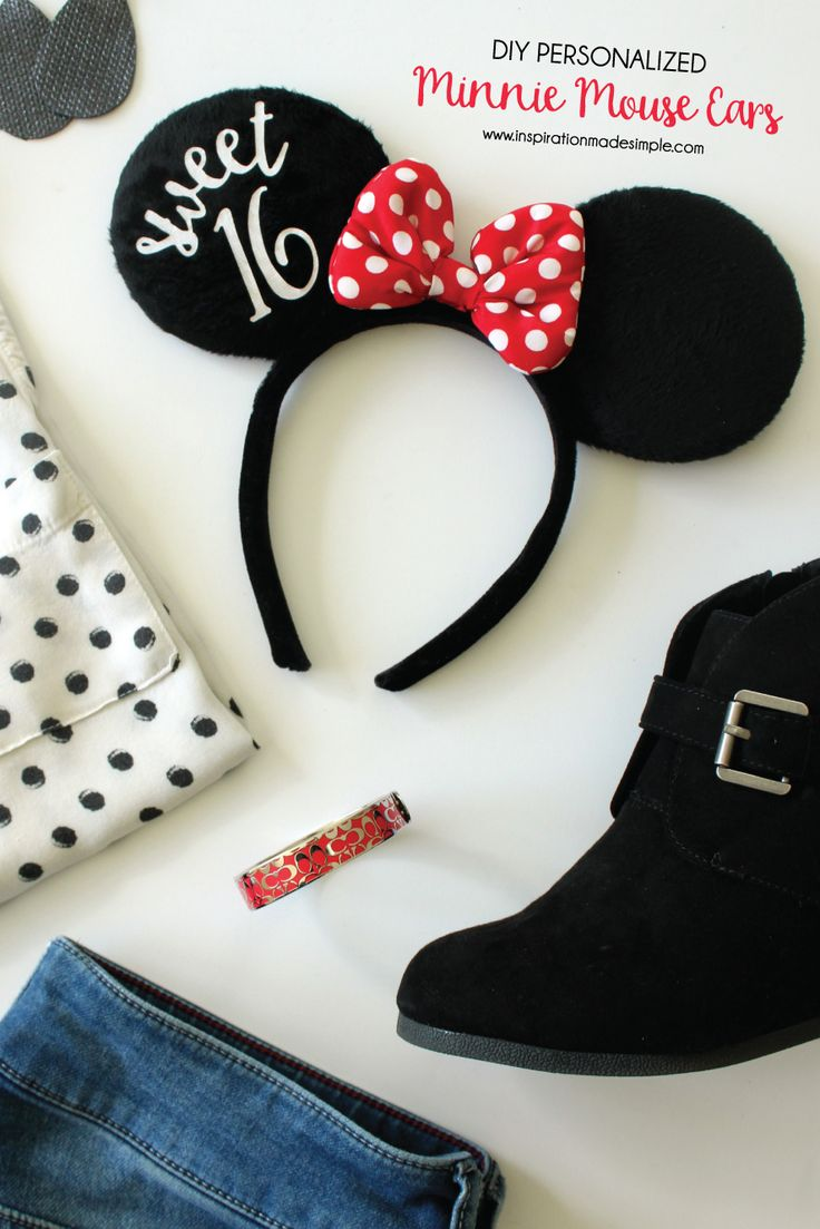 DIY Personalized Minnie Mouse Ears. Sweet 16 minnie mouse ears. Disney themed birthday idea. What an awesome gift for the Disney lover in your family!