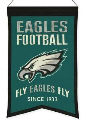 NFL Philadelphia Eagles Franchise Banner | Decorate your man cave or game room while displaying team pride with a #NFL #PhiladelphiaEagles Franchise #Banner. The vintage style wool banner showcases your favorite team's colors and logo along with the team slogan to help you prepare for kick off. #superbowl #football #afflink