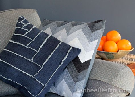 pieced pillow covers | Ashbee Design: Old Blue Jeans • Pillow # 2
