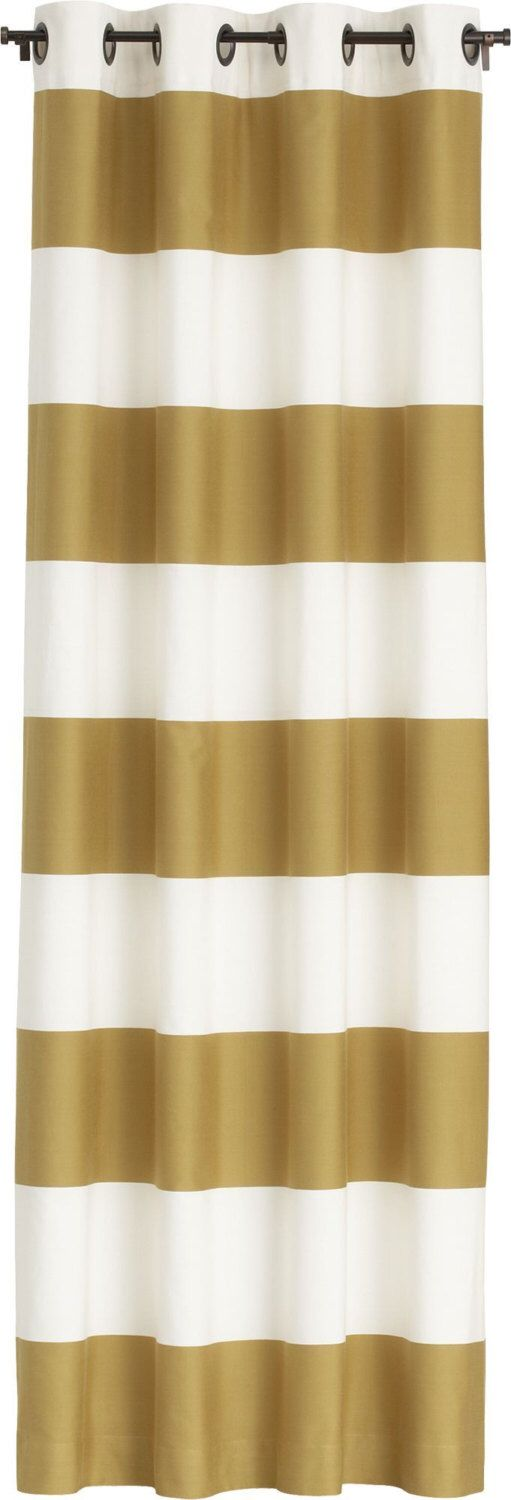 Gold And Soft Creamy White Horizontal Striped Curtain Panel By  LinnyBirdsCurtains On Etsy Https:/
