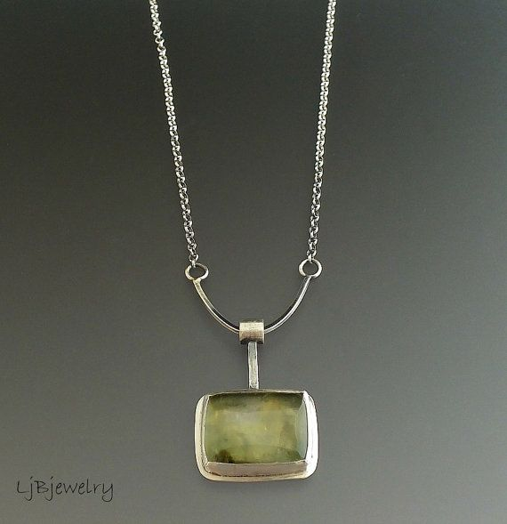 Silver Necklace Prehnite Necklace Sterling Silver by LjBjewelry                                                                                                                                                                                 More