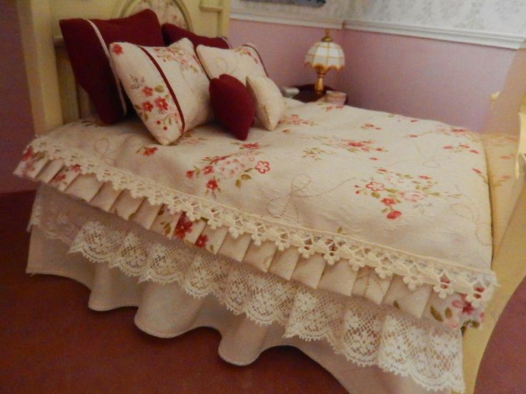 High Headrest Glossy Almond Color Miniature Double Bed Dollhouse 1/12 scale with Lovely Ivory & Burgundy Floral Bed Linen by MumsMiniatures on Etsy https://www.etsy.com/listing/225021859/high-headrest-glossy-almond-color