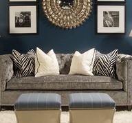 Dark teal wall with grey and off white Just add dark brown sofas/furniture Theatre room.... Want that couch!!!!! and mirror!!