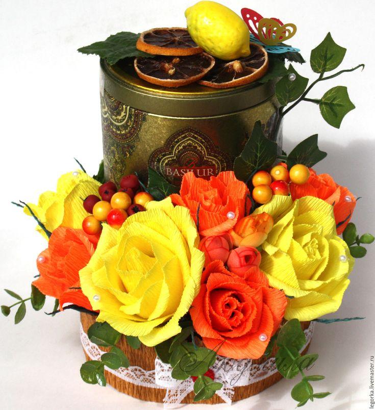 Купить Конфеты с чаем - комбинированный, оригинальный подарок, сладкий подарок, сладкий букет, чай, конфеты
