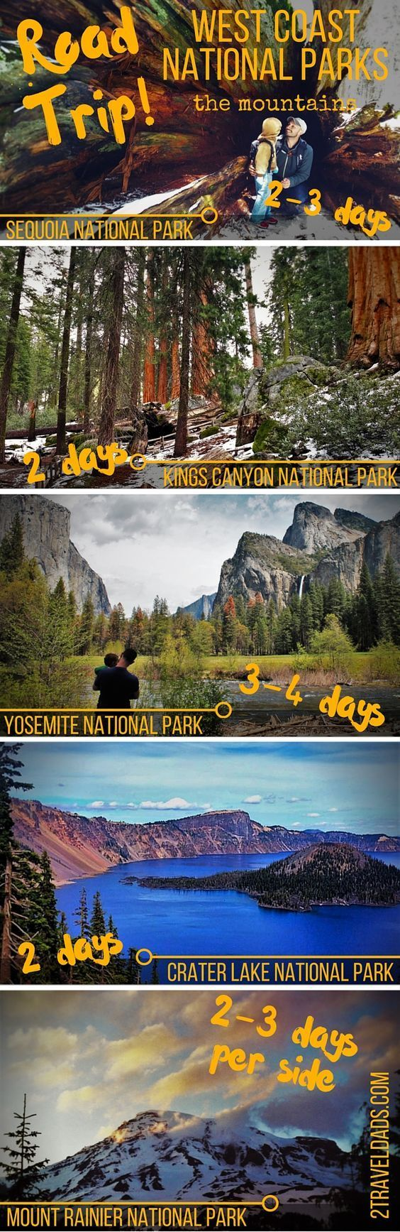 An ideal plan for a West Coast National Park road trip, visiting the various mountain National Parks including Yosemite, Sequoia/Kings Canyon, Mt Rainier... 2traveldads.com