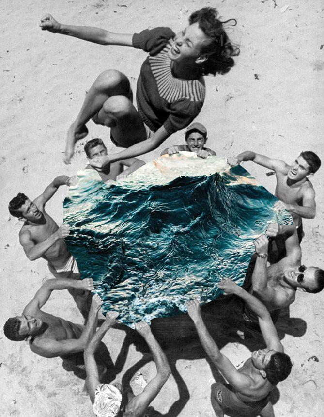 Sélection de la semaine, #WTF, #Cosplay, #Geek, #FunFacts, #Design, #Photographie, #Vrac - Vintage – Femme à la plage et trampoline d'hommes