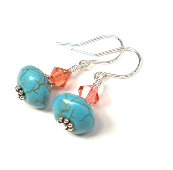 Turquoise Earrings - Pink Crystal Sterling Silver on Etsy, $12.00