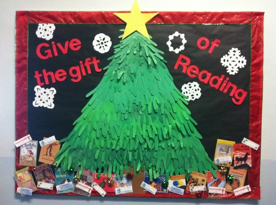 Library Bulletin Board Idea: Teachers Favorite Childhood Books As Gifts  Under Students Handmade Tree!