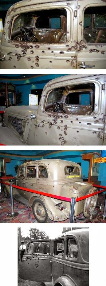 Bonnie and Clyde were ambushed in this car by TX. Ranger Mike Hammer and posse. Clyde was arrested in the beginning and put in the Hill Co. Jail. He dug out with a spoon, vowed never to be taken again. He shot his way out of several attempts at arrest killing several officers. So they were given no warning, no quarter. The Ranger Museum is here in Waco next to Baylor University.