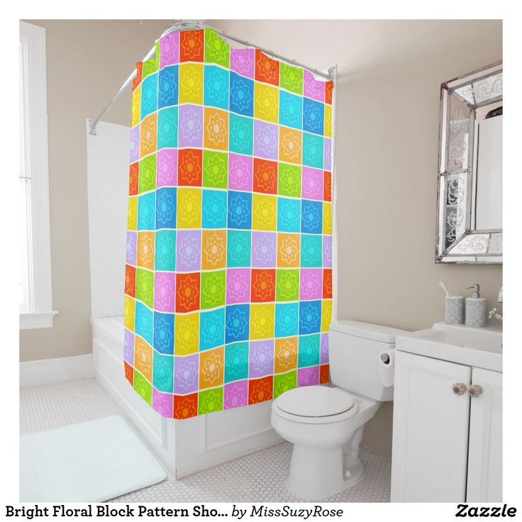 Bright Floral Block Pattern Shower Curtain floral shower curtains,multicoloured shower curtains,modern florals,retro floral shower curtain,bright bathroom accessories,bathroom decor,floral bathroom,funky bathroom ideas,colour match shower curtain,fashionable shower curtain