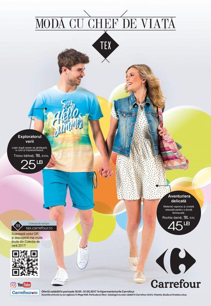 Catalog Carrefour Textile de Vara 18-31 Mai 2017! Oferte si recomandari: tricou barbati TEX cu imprimeu de vara 25 lei; rochie scurta dama