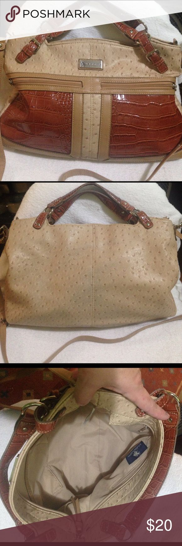 """U.S.. POLO ASSN Large Handbag Tote In gently used condition, this is a gorgeous bag. Faux ostrich leather. Clean inside and out with the exception of one very tiny mark, and some slight marks on back of bag. Tried to picture but I don't think camera could pick  it up to see it. U removed the tassels from the front pockets months ago because I didn't like the way they looked. Still fully functional. Comes with removable, adjustable strap(23""""-25"""") U.S. Polo Assn. Bags Totes"""