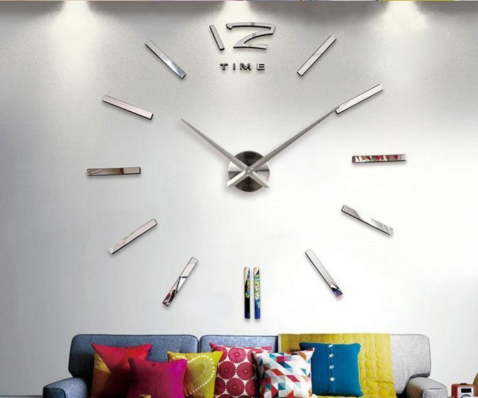 Home decoration big mirror wall clock modern design 3D DIY large wall watch #Unbranded #Modern