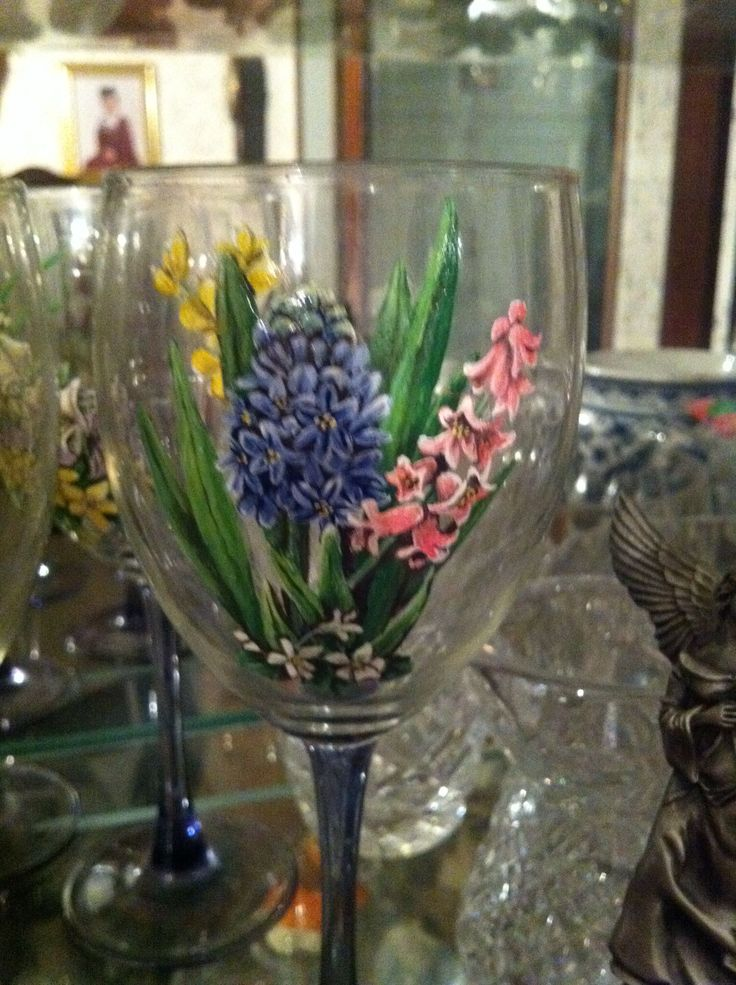 Some of the nature which mom painted on my stemware. We always did love the same things. These Hyacinths are one of the many flowers in her beautiful gardens; her epitaph.