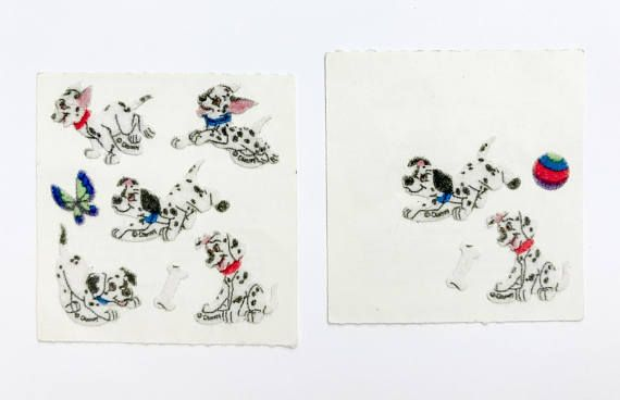 Two vintage Sandylion fuzzy 101 Dalmatians sticker squares. There are 11 stickers total in this vintage Disney lot, and they are in great condition.  ***** Please note items are being shipped via ground shipping with Canada Post. Tracking and insurance is not included in this standard shipping rate. If you would like to receive a tracking number, kindly let us know!