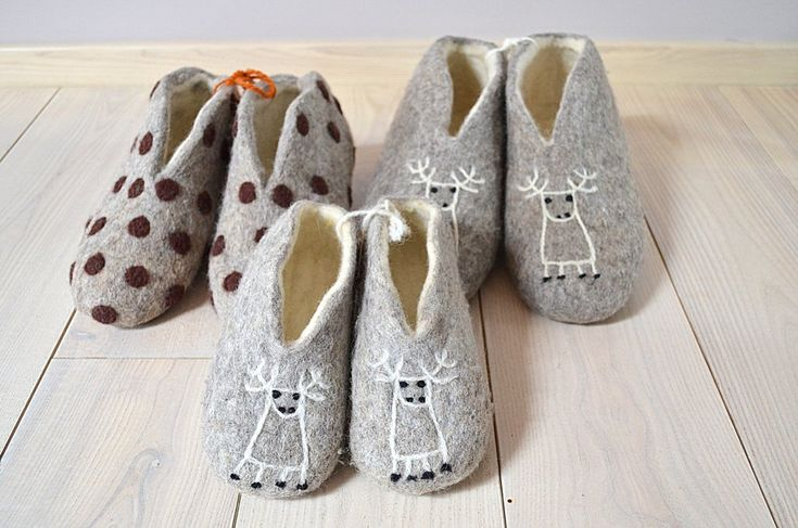 Felted wool slippers for all family