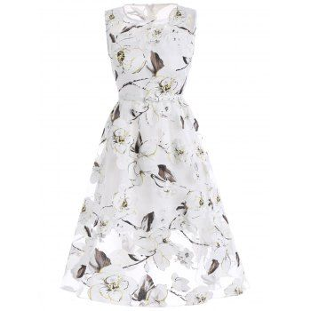 Floral Print Organza Dress With Belt For Fashion Lovers