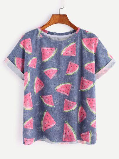 Blaues Wassermelone-Druck-Kurzschluss-Hülsen-T-Shirt