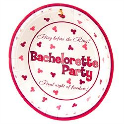 Pink And Purple Bachelorette Party Paper Dinner Plates