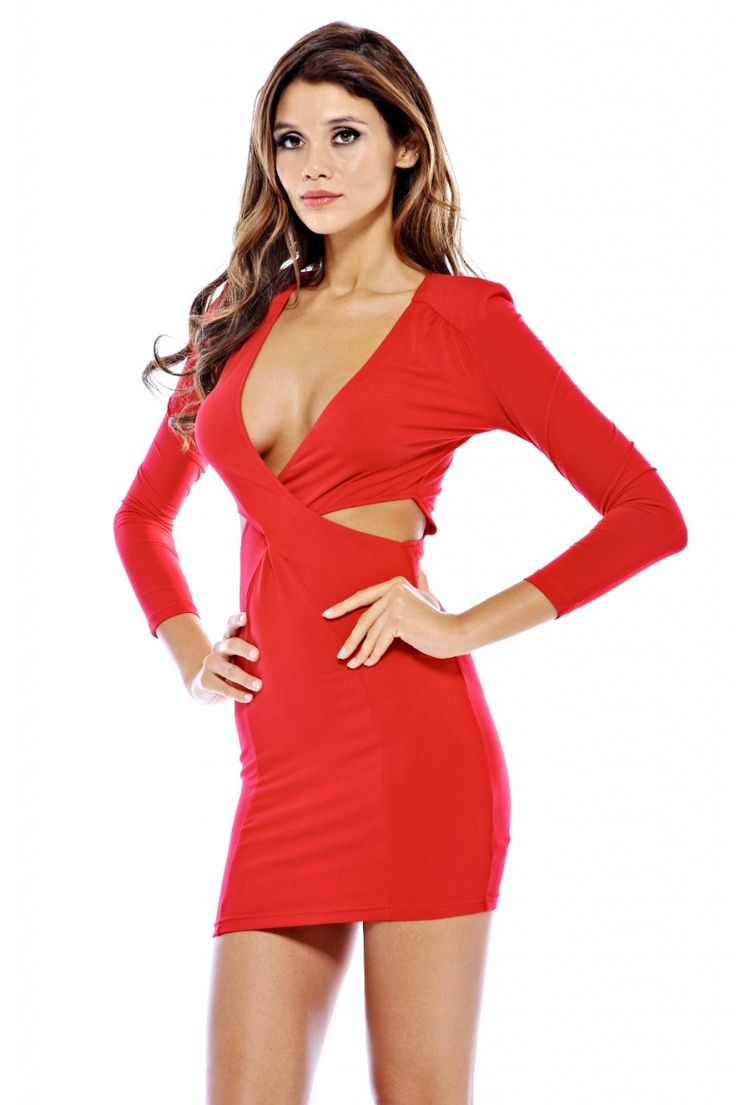 AX Paris Women's Twisted Front Long Sleeve Cut Out Red Dress, Size: 10;8;6