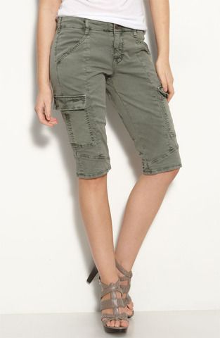 colorful, skinny, cargo knee length shorts