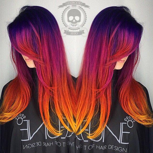 Tequila sunrise... Loved doing this on @miaaagallooo #hairgod_zito #headrushsalon #btconeshot_rainbow
