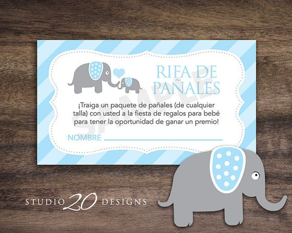 instant download blue elephant spanish baby shower diaper raffle cards