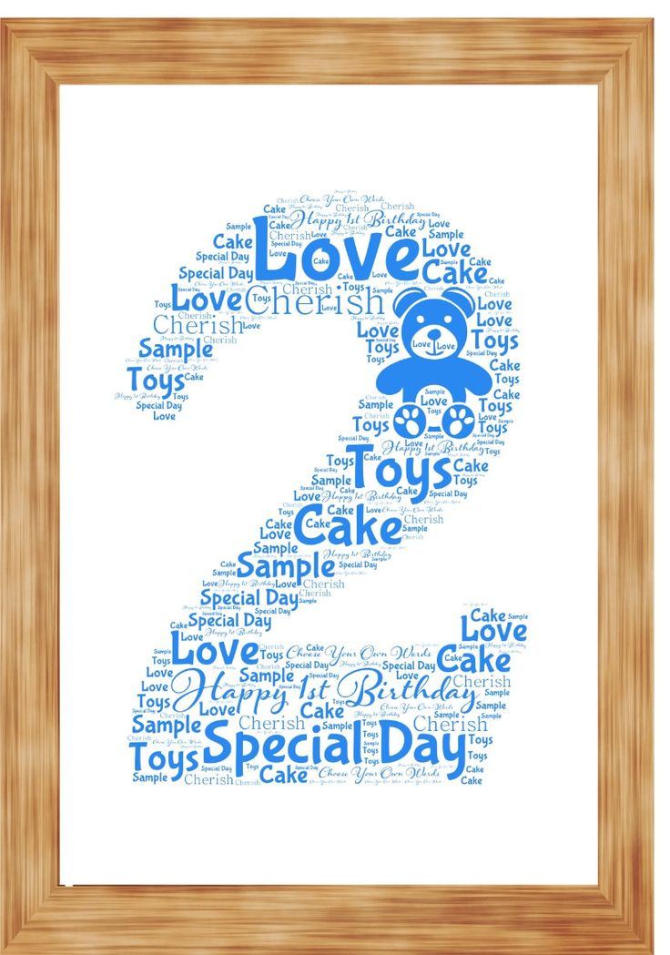 2nd Birthday Anniversary Word Art Print Personalised with your own words by SandraCraftyCardz on Etsy