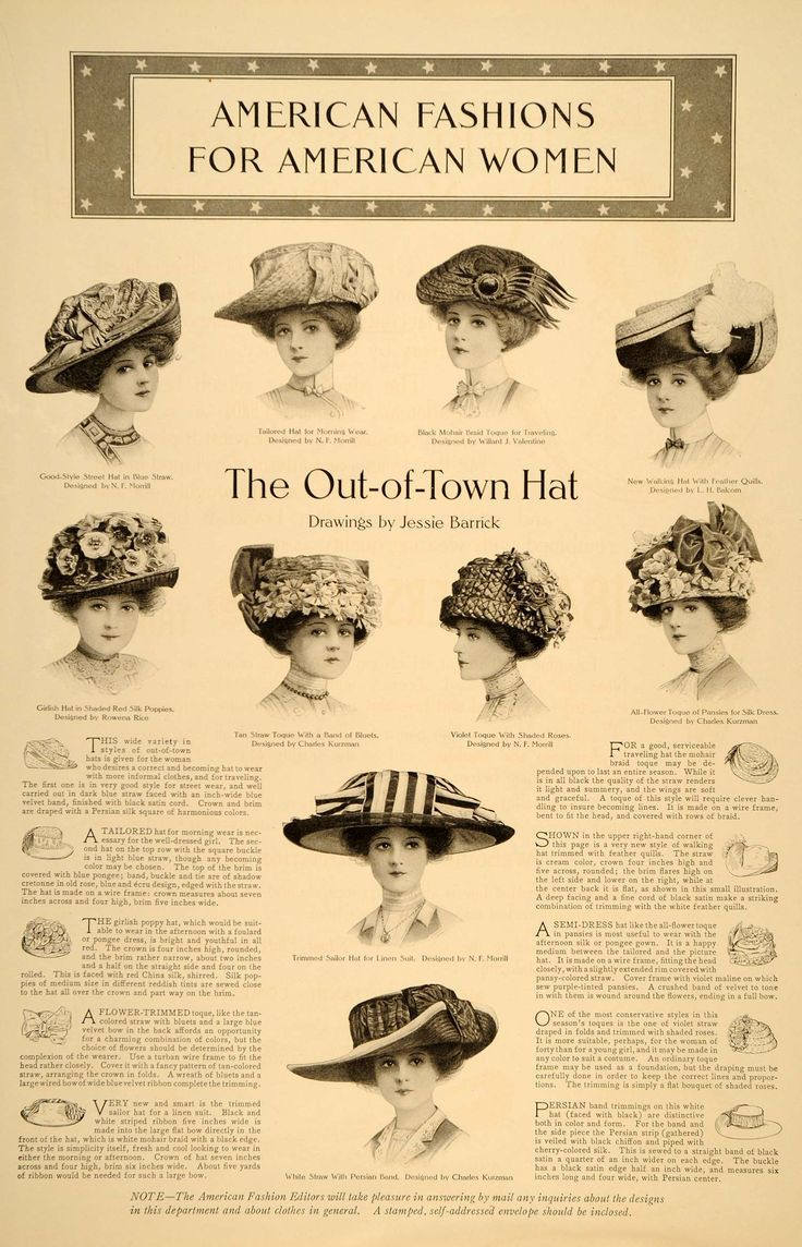 1910 Print Fashion Hats Women Out Town Lingerie Garden ORIGINAL HISTORIC IMAGE