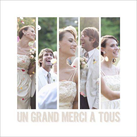 Carte de remerciement mariage photos. Disponible en 4 formats et à personnaliser sur Popcarte.com