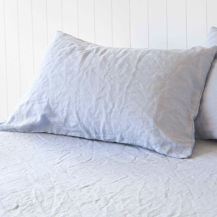 Glacier Pure Linen Pillowcases by Montauk Style