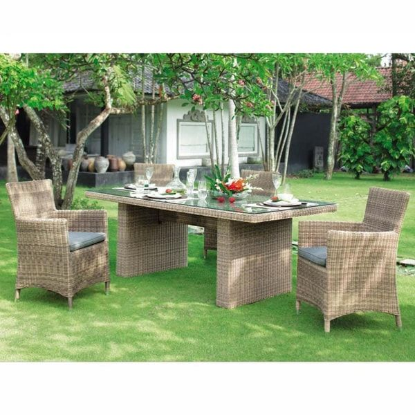 Tempered Glass And Wicker Garden Table W 200cm St Raphaazl St
