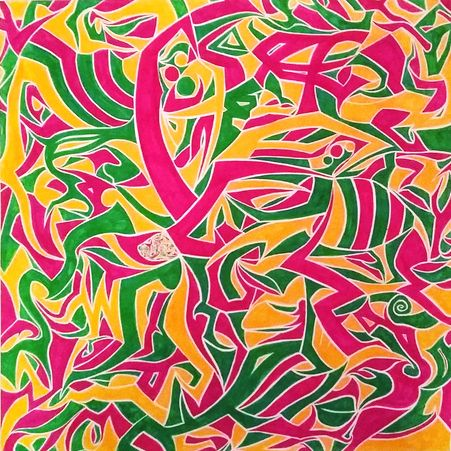 Part of my seasons series. This one is for spring and I call it Swarm. #finearts #abstract #penandink