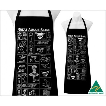 """Get the best of Aussie slang on an apron. He'll be the star of your barbecues as your guests read the apron full of slang like """"fair dinkum,"""" """"dish licker"""" and """"ankle biter."""" AU$29.95 from Australian Gifts Online. We also offer an entire line of Aussie slang products, including a bone china mug, stubby holder, tea towel and bottle opener."""