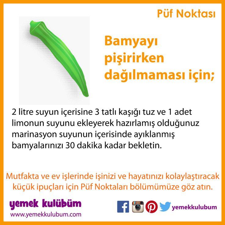 YEMEK YAPMANIN PÜF NOKTALARI : Bamya yemeği pişirirken dağılmaması için ne yapmalı? http://yemekkulubum.com/puf-noktasi-liste/yemek-hazirlama-ile-ilgili-puf-noktalari #bamya #bamyayemeği #yemek #yemekhazırlama #limon #yemekyapma #püfnoktası #püfnoktaları #pratikbilgiler #ipucu #ipuçları